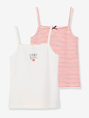 Click to view product details and reviews for Pack Of 2 Stretch Vest Tops For Girls Le Plein Damour White Light Two Color Multicol.