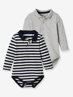 Pack Of 2 Bodysuits For Babies Polo Shirt Collar Long Sleeves Grey Medium Mixed Color