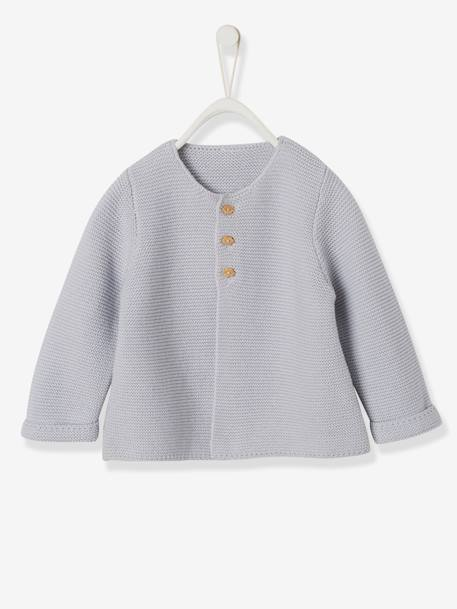 Knitted Cardigan in Purl Stitch for Newborns BLUE DARK SOLID+BLUE MEDIUM SOLID+PINK LIGHT SOLID+WHITE LIGHT SOLID
