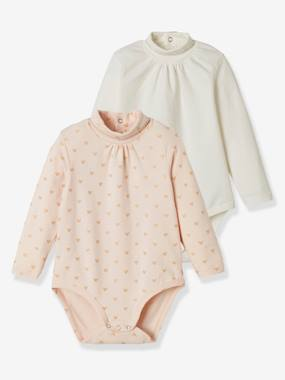 Click to view product details and reviews for Pack Of 2 Bodysuits For Babies High Neck Long Sleeves White Light Two Color Multicol.