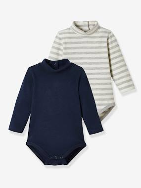 Pack Of 2 Bodysuits For Babies High Neck Long Sleeves Blue Dark Solid