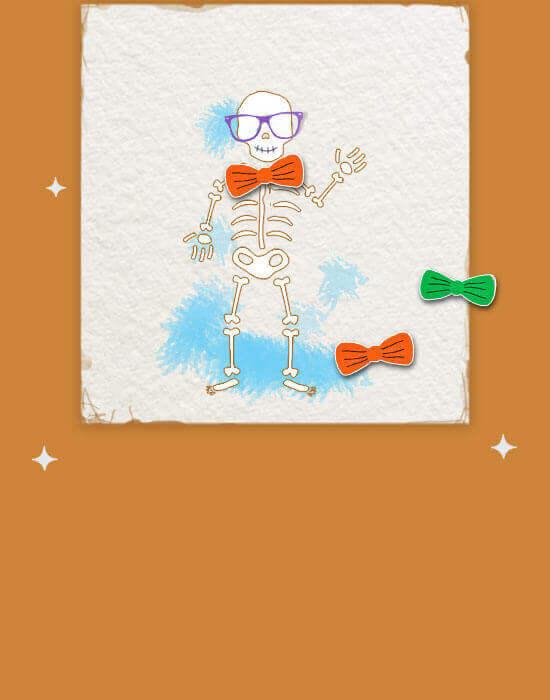 Pin the bowtie on the skeleton